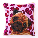 Needlepoint Pillow with Pug