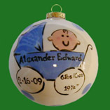 Round Birth Christmas Ornament for Boy