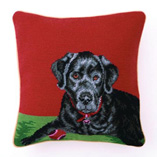 Needlepoint Pillow with Black Lab